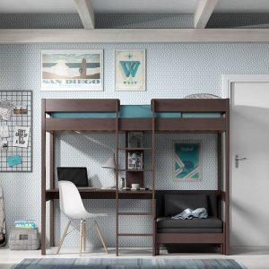 Vipack Oliver - Hoogslaper - Bureau + Bedbank Kleur