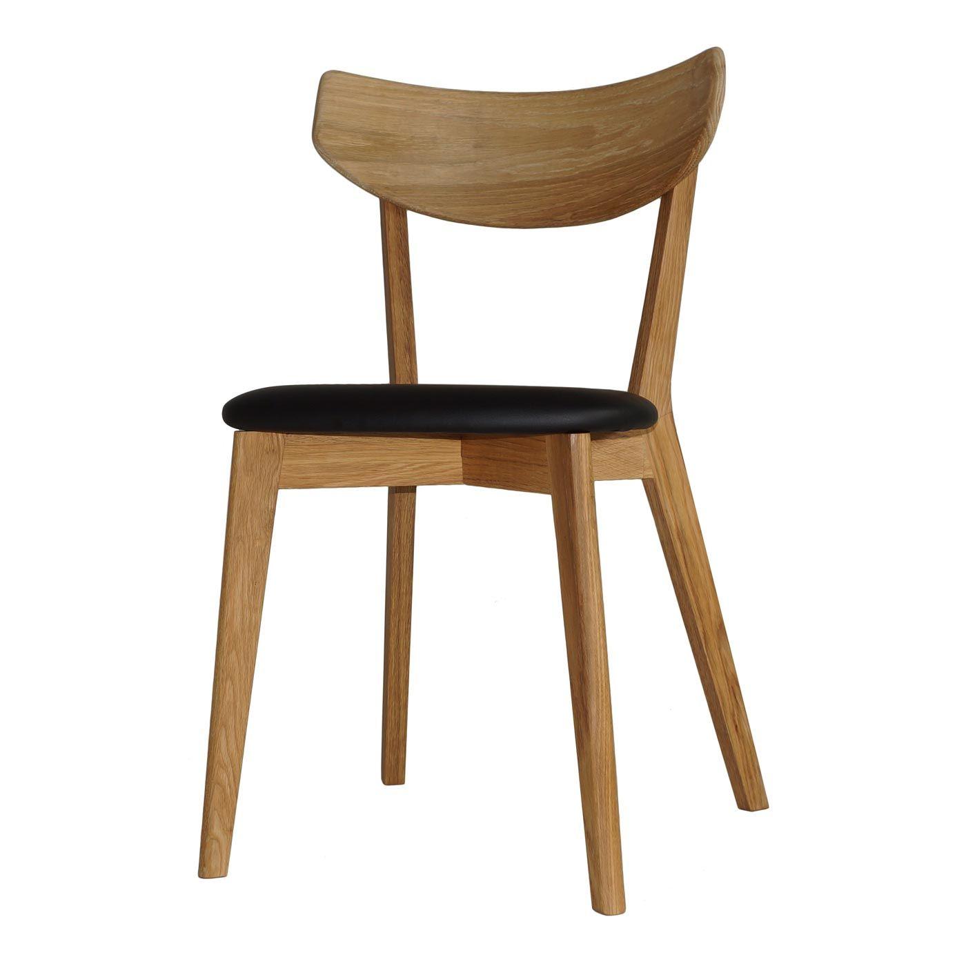 Eiken Houten Eetkamerstoelen.Nordiq Ami Chair Houten Eetkamerstoel Zwarte Bekleding Vintage