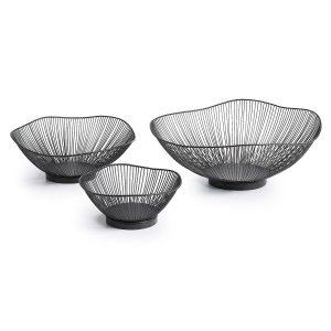 LaForma Arabel - Metalen draadmandjes (set van 3) - Zwart - Metalen draadmandjes