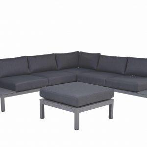 Annabella hoek loungeset 4-delig aluminium antraciet