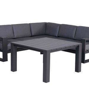 Cube hoek dining loungeset 4-delig aluminium antraciet