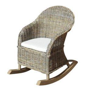 Eddy rocking stoel natural rotan + off white