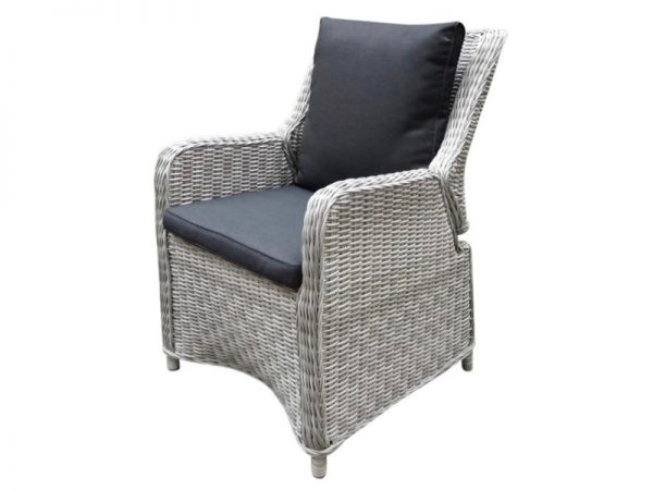 Bilbao verstelbare dining stoel natural white grey + royal dark grey zonder knopen