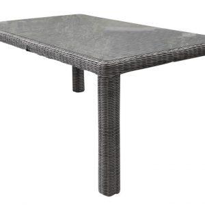 Bergamo dining tuintafel 180x100xH78 cm kobo grijs met glasplaat