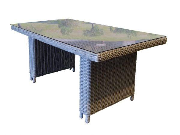 San Diego tafel 148x86x67 natural kobo grey + glasplaat