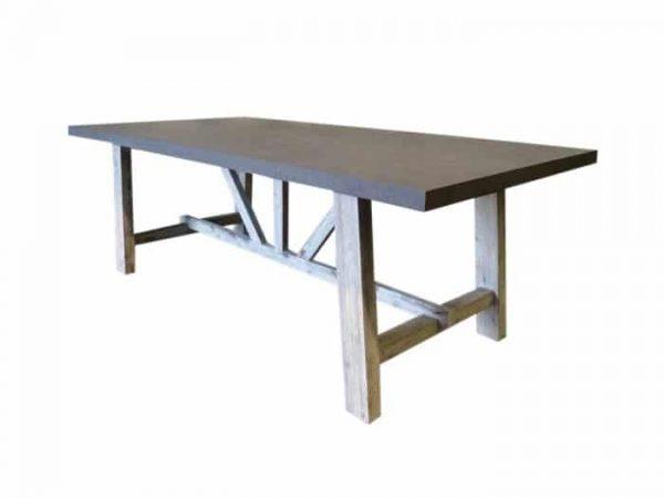 Tenerife tafel 220x100x75 cement fiber + white wash onderstel acacia hout