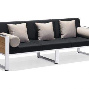 York lounge 3-zits tuinbank wit aluminium