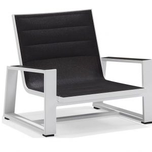 York lounge stoel alu white + black textileen