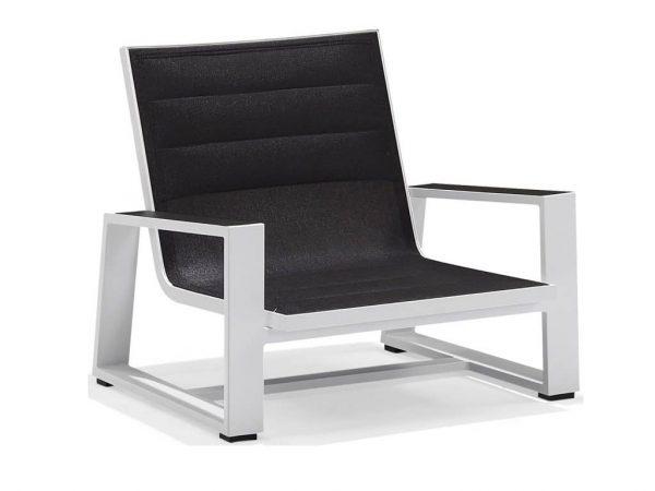 York lounge stoel alu white + black textileen