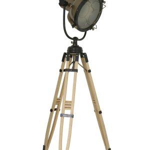 Light & Living Vloerlamp 'Alwan' driepoot, brons op hout