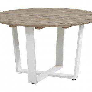 Cricket tafel teaktop rond + wit aluminium onderstel?130cm
