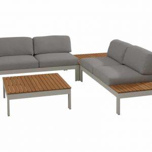 Mistral hoek loungeset 4-delig teak lichtgrijs