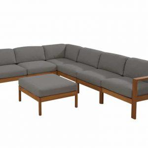 Lido hoek loungeset 7-delig teak middengrijs