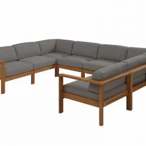 Lido hoek loungeset 8-delig teak middengrijs