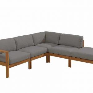 Lido hoek loungeset 5-delig teak middengrijs