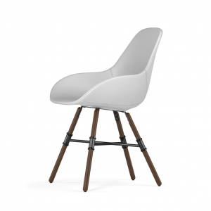 Kubikoff Giro stoel - Dimple POP shell - Kunstleer - Walnoten onderstel -