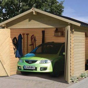Nvt 2-bay Garage eiken exclusieve tuinhuizen met veranda