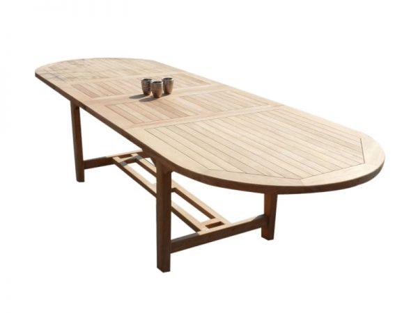 Ovaal uitschuifbare dining tuintafel 160-210x90xH76 cm teakhout bladdikte 2,8 cm