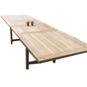 Rechthoekig 2 x uitschuifbare dining tuintafel 200-250-300x100xH77,5 cm teakhout zware uitvoering.