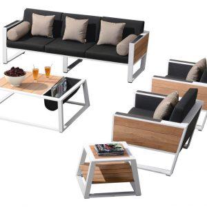 York stoel-bank loungeset 3-delig wit aluminium zwarte kussens