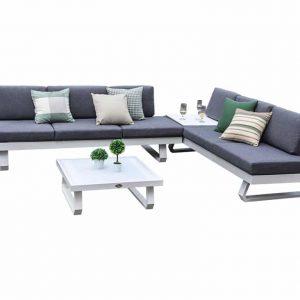 Luca hoek loungeset 4-delig wit aluminium