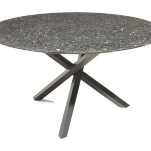 Gigi dining tuintafel 140 cm 2 cm graniet pearl black satinado