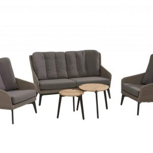 Luxor stoel-bank loungeset 5-delig pebble