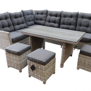 Dunham hoek dining loungeset 6-delig wit grijs vlechtwerk