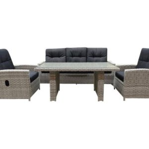 San Marino verstb. combi lounge dining set Natural white grey