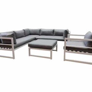 Fabri hoek loungeset 5-delig wit aluminium