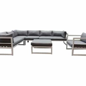 Fabri hoek loungeset 6-delig wit aluminium