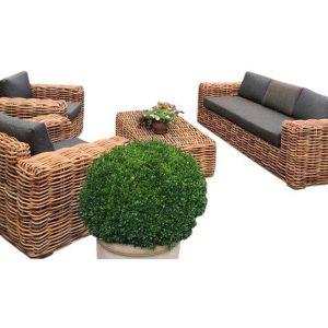 Sabuga stoel-bank loungeset 4-delig naturel rotan