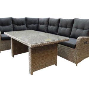 San Francisco hoek dining loungeset verstelbaar 3-delig grijs