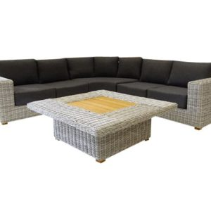 Ancona hoek loungeset 4-delig wit grijs