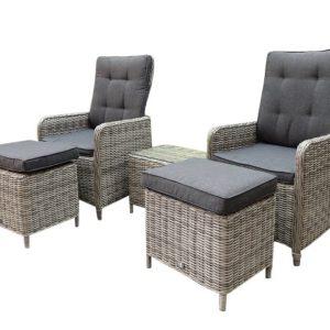 Empoli lounge balkon verstelbaar 5-delig wit-grijs