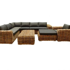 Sabuga hoek loungeset 7-delig naturel rotan