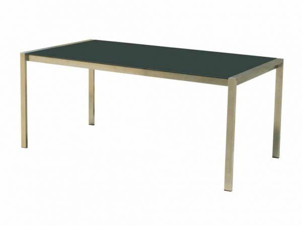 Granada 160 x 90 RVS tafel met tempered glas.