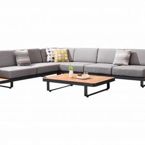 New Polo hoek loungeset 5-delig zwart aluminium grijze kussens