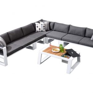 Exee hoek loungeset 6-delig wit aluminium