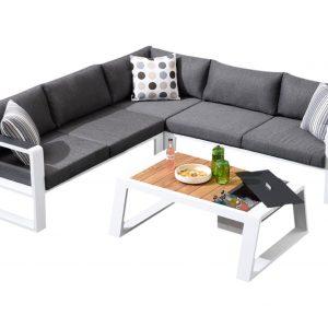 Exee hoek loungeset 4-delig wit aluminium