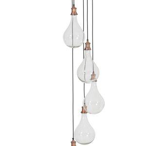 Light & Living Hanglamp 'Quirina' 5-Lamps, glas antiek koper