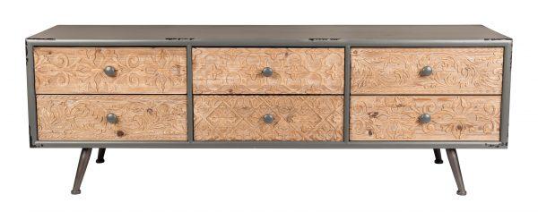 ZILT Industrieel Tv-meubel 'Clay' met 6 laden