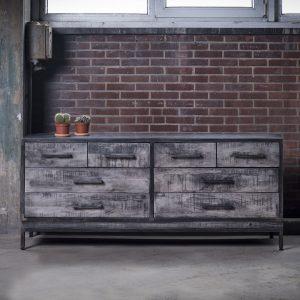 Mioni Dressoir 'Ruff Metal' 168cm met 8 laden