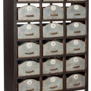 J-Line Ladenkast 'Magda' Industrieel, met 18 laden