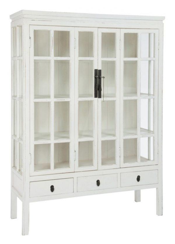 J-Line Vitrinekast 'Ghilaine' 130cm, kleur wit