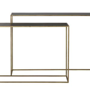 Light & Living Sidetable 'Boca' Set van 2 stuks, matzwart wash-goud