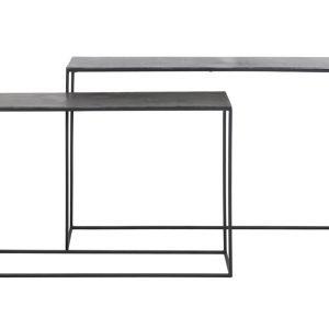 Light & Living Sidetable 'Boca' Set van 2 stuks, ruw lood ant-mat zwart