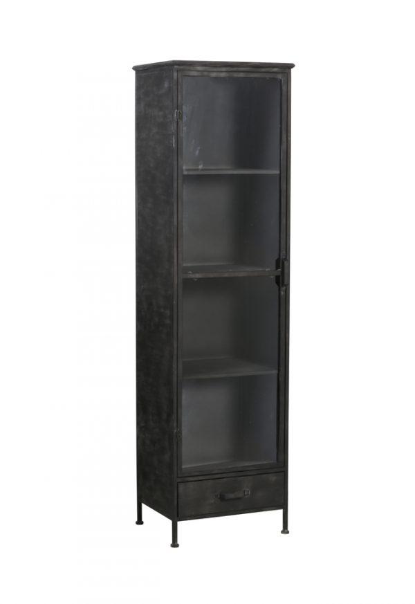 Light & Living Kast 'Locumba' met vitrinedeur, antiek zwart