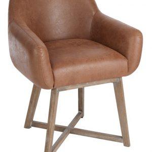 J-Line Eetkamerstoel 'Ruddy' Leder, kleur bruin