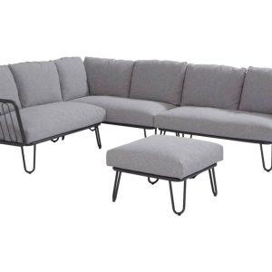 Premium hoek loungeset links 4-delig antraciet aluminium
